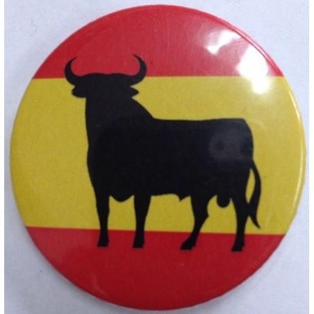Chapa redonda Bandera de España con Toro