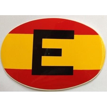 Pegatina Bandera España con la inscripción de E.