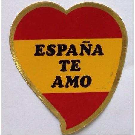 Pegatina forma de corazón con la Bandera de España con la inscripción España Te Amo.
